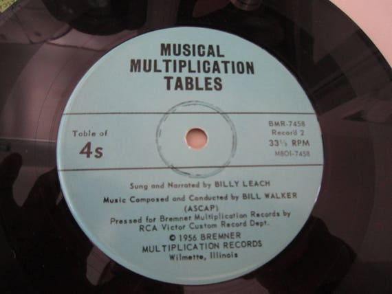 Musical Multiplication Tables 5 Records 2s Through The Etsy