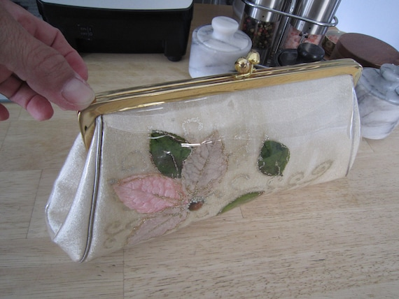 Plastic Floral Clutch Clear Coated Plastic