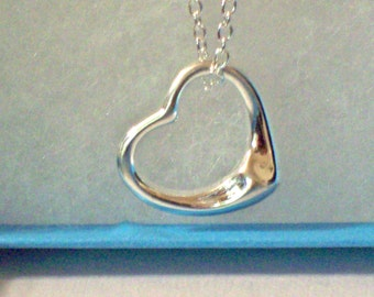 Floating Heart  Sterling Silver Necklace