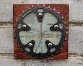 """5""""x5"""" Recycled Bicycle Chainring Pueblo Map Plaque"""