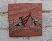 """6""""x6"""" Recycled Bicycle Mountain Bike Plaque"""