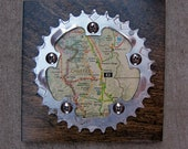 """6""""x6"""" Recycled Bicycle Chainring Chaffee Map Plaque"""
