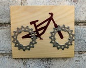 """6""""x5"""" Recycled Bicycle Mountain Bike Plaque"""
