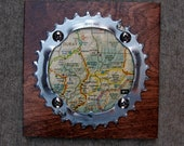 """6""""x6"""" Recycled Bicycle Chainring Telluride/Ouray Map Plaque"""