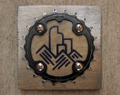 """4""""x4"""" Recycled Bicycle Chainring Denver City Skyline Plaque"""