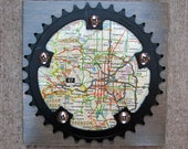 """6""""x6"""" Recycled Bicycle Chainring Front Range Map Plaque"""