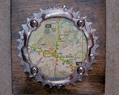 """6""""x6"""" Recycled Bicycle Chainring Durango Map Plaque"""