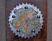 """6""""x6"""" Recycled Bicycle Chainring Denver Map Plaque"""