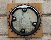 """5""""x5"""" Recycled Bicycle Chainring Ft Collins Map Plaque"""