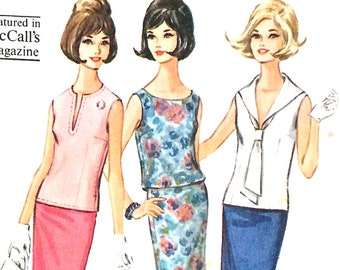 Uncut McCall's 7339 Misses Separates Three Tops and Skirt 1960s Vintage Sewing Pattern  Bust 31 to 32