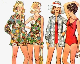 Uncut Simplicity 6356 Bathing-Suits and Cover-Up  1970s Swimsuit for stretch knits only Vintage Sewing Pattern Bust 34