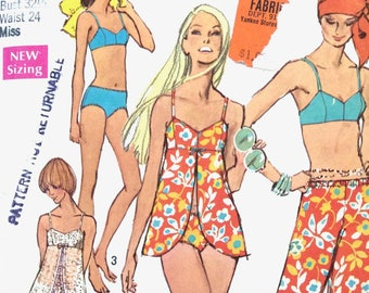Simplicity 8795 Early 70s Misses' Bathing-Suit and Hip-Hugger Pants  Bikini Cover-Up Top Vintage Sewing Pattern Bust 32.5 inches