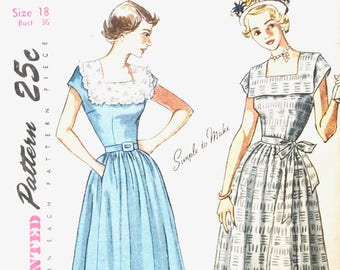 Uncut 1940s or early 50s Simplicity 2908 Dress Pattern NO DIRECTIONS Vintage Sewing Pattern Bust 36