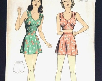 a3dff530986 Sale 15% off Vintage 1940s Misses' Bathing Suit DuBarry 6082 Pin-Up Swimsuit  Pattern Bra Top High Waist Shorts Ruffles Bust 32 inches