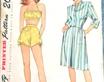 Vintage 50s Ruffled Ballerina Strapless Swim Suit Bathing Suit VLV Swimsuit Playsuit Sewing Pattern 3654 B31