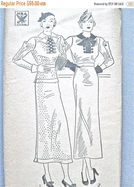 ON SALE Uncut 1930s Dress Vintage Sewing Pattern Pictorial | Etsy