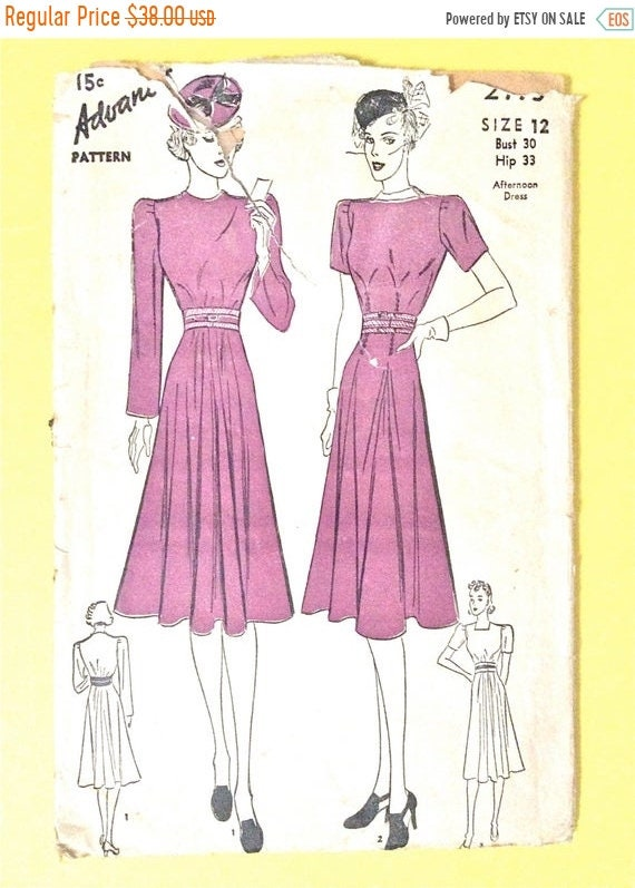 0d94afd1e5 Sale 15% off Advance 2173 1930s Afternoon Dress Bust 30 Hip 33 Inches  Vintage Sewing Pattern