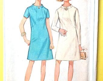SALE 20% OFF Uncut Simplicity 7807 Mod Dress 1960s front seam interest, funnel neckline, back zipper,  Vintage Sewing Pattern  Bust 37 Waist