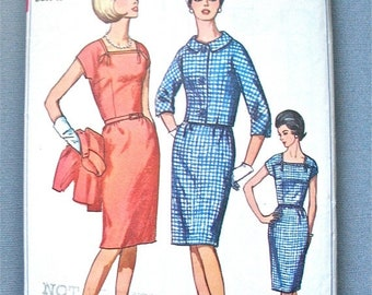 SALE 20% OFF Vintage late 50s or early 60s Women's Dress and Jacket Pattern by Simplicity 6328   Bust 40 inches