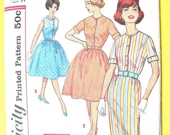 SALE 20% OFF Vintage 1960s Simplicity 4426 one piece dress with two skirts, round neckline  front button closing Vintage Sewing Pattern Bust