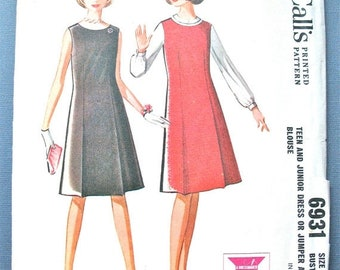 SALE 20% OFF 1960s McCall's 6931 A-line Dress or Jumper Vintage Sewing Pattern  Bust 34 inches