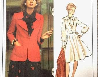SALE 20% OFF Uncut Vogue Paris Original 2742 Nina Ricci Dress Coat Secretary Dress Designer Dress Tie DressVintage Sewing Pattern  Bust 36