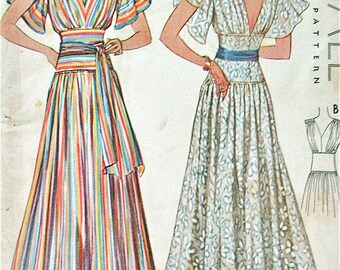 Vintage 1930s sewing pattern by McCall 9321.  Printed pattern.  Bust 38 inches