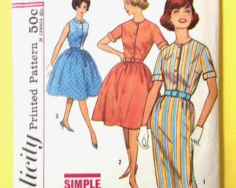 SALE 20% OFF Uncut Vintage 1960s Simplicity 4426 one piece dress with two skirts, round neckline  front button closing Vintage Sewing Patter