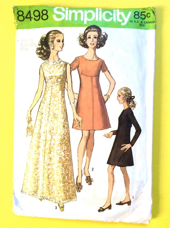 Evening Gown Mod 60s Simplicity 8498 Dress and Gown Sewing | Etsy