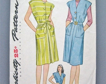 SALE 20% OFF Vintage 1940s Pattern by Simplicity 1369 Sewing Dress Pattern 40s   Bust 34 inches