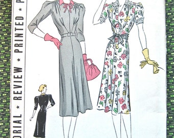 UNcut 1930s Pictorial Review Printed Pattern 9549 Dress Pattern 30s   Bust 40 inches
