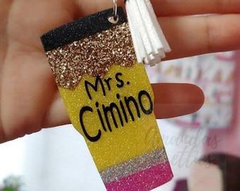 Glitter Pencil Keychains