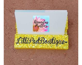 Business Card Holder Tabletop Glitter Resin