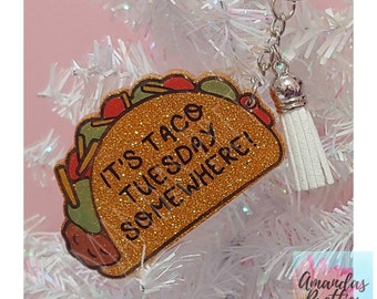 Taco Tuesday Glittered Keychain