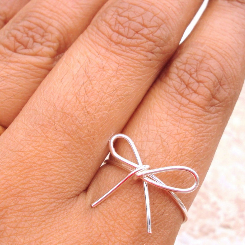 Tiny Bow Ring Silver Love Knot Sister Rings Friendship Rings image 0
