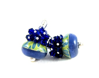 Blue Yellow Glass Earrings, Cobalt Blue Crystal Earrings, Boro Lampwork Earrings, Cluster Earrings, Beadwork Earrings - Sunny Side