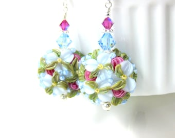 Baby Blue Floral Earrings, Nature Earrings, Floral Jewelry, Blue Pink Lampwork Earrings, Flower Earrings, Pastel Glass Earrings, Botanical