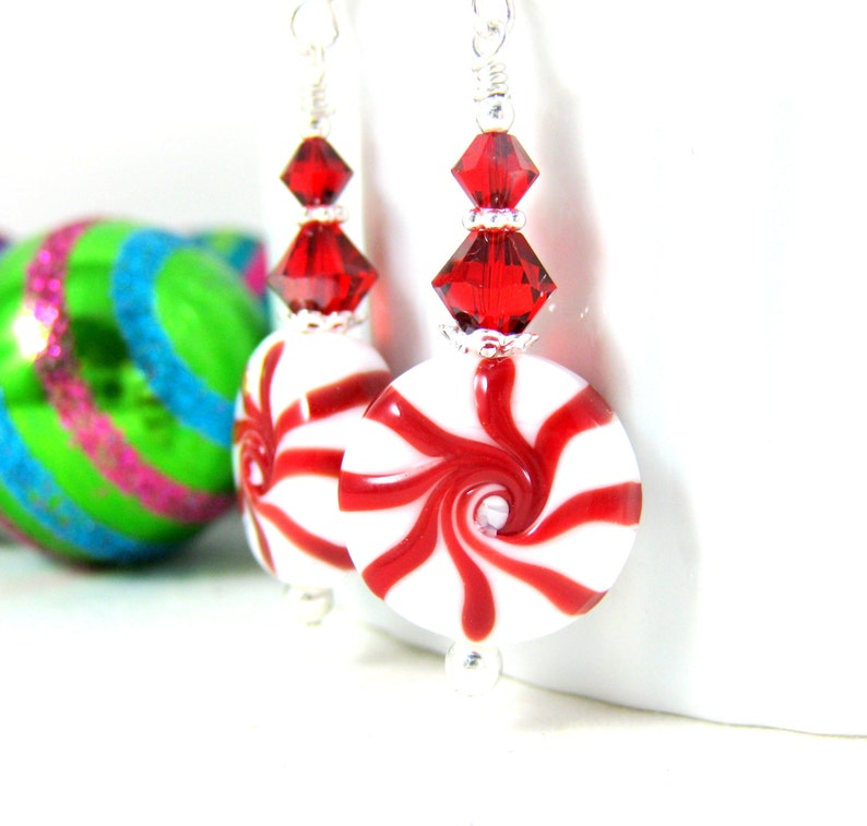Christmas Earrings Peppermint Earrings Holiday Jewelry Red White Candy Earrings Lampwork Earrings Fun Candy Christmas Jewelry Grj
