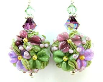 Purple Green Floral Lampwork Glass Earrings, Orchid Sage Glass Bead Earrings, Crystal Sterling Silver - Purple Sage