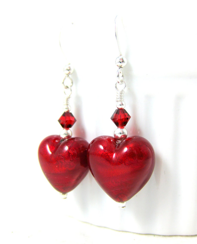 Love Murano Earrings Valentine/'s Day Jewelry Valentine/'s Gift for Her Romantic Earrings Red Heart Earrings Valentine/'s Earrings