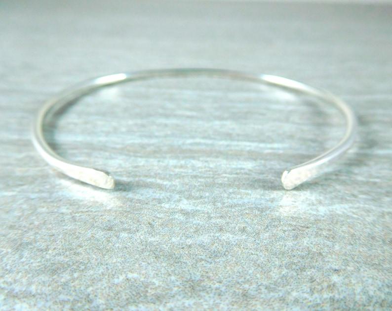 Sterling Silver Cuff Bracelet for Women Wife Stacking Bracelet for Mom Hammered Bangle Bracelet Smooth Minimalist Cuff Bracelet 3mm