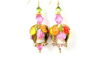 White Pink Red Floral Earrings, Flower Bud Earrings, Nature Earrings, Lampwork Earrings, Dangle Earrings,  Gold Filled Earrings - Aida
