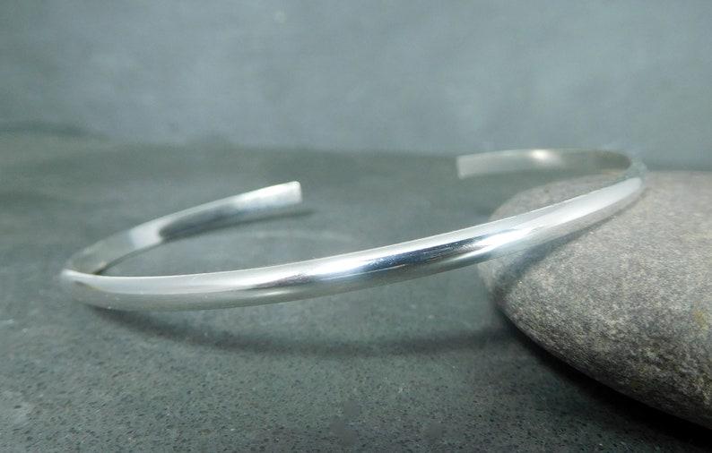 cf114609ba8 Simple Sterling Silver Cuff Bracelet 3mm Wide Half Round   Etsy