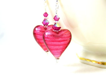Pink Heart Earrings, Murano Earrings, Romantic Earrings, Dangle Earrings, Valentine's Day Jewelry, Gift for Her, Pretty Earrings - Romance