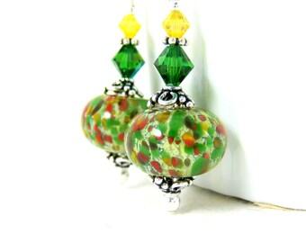 Colorful Dangle Earrings, Green Yellow Red Lampwork Earrings, Boho Chic Earrings, Sterling Silver Earrings, Glass Earrings, Autumn Bohemian