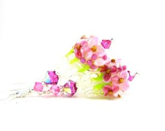 Pink Floral Earrings, Nature Earrings, Lampwork Earrings, Floral Jewelry, Flower Earrings, Glass Dangle Earrings, Garden Wedding - Cherish