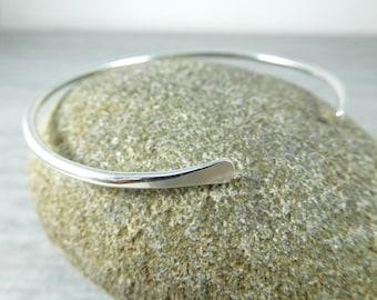 Thin Sterling Silver Cuff Bracelet, Open Bangle Bracelet, Simple Stacking Bracelet, Minimalist Jewelry, Delicate Skinny Cuff Bracelet, GRJ
