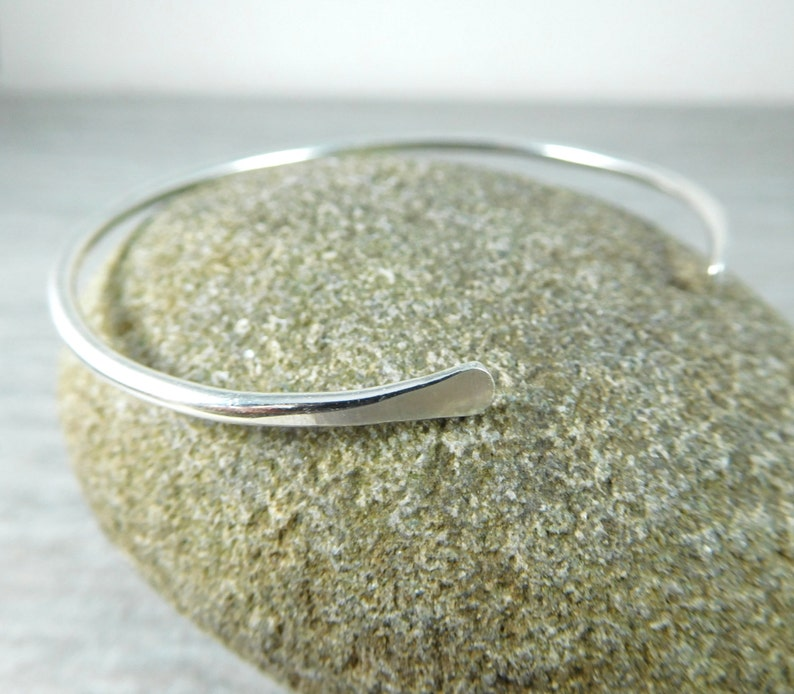 Thin Sterling Silver Cuff Bracelet Open Bangle Bracelet image 0