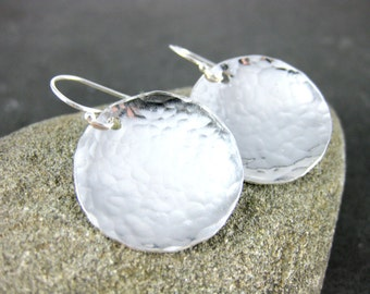 Sterling Silver Disc Dangle Earrings, Simple Everyday Earrings, Hammered Silver Metalwork Earrings, Minimalist Jewelry, GRJ, Beach Jewelry