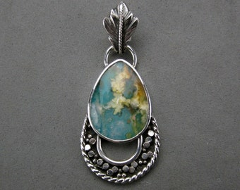 Regency Plume Agate Turquoise Doublet Pendant, Sterling Silver